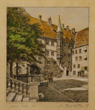 Alter Hof München, mit Figurenstaffage, datiert 1899